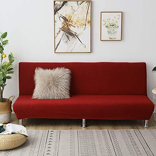 C/N Funda de sofá Cama Clic clac Plegable elástico Fundas de sofá sin Brazos Funda de sofá elástica sin Brazos Funda Clic clac 3 Plaza Vino Rojo