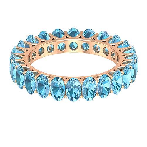 Anello in acquamarina con taglio ovale, 5 x 3 mm, con taglio ovale, anello in oro per anniversario (qualità AAAA), 14K Oro rosa, Size:EU 61