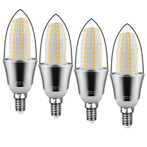 Yiizon LED E14 15W Kerze Glühbirne, entspricht 120 W Glühlampe, 3000 K Warmweiß, 1500lm, CRI>80 +, kleine Edison-Schraube, nicht dimmbar Kandelaber LED Glühlampen(4 PCS)