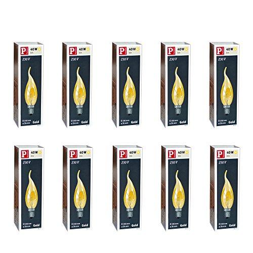 Preisvergleich Produktbild 10 x Paulmann Kerze windstoß gold 40W E14 Kerzen 40 Watt Glühbirne Glühlampe Windstoßkerzen 513.47
