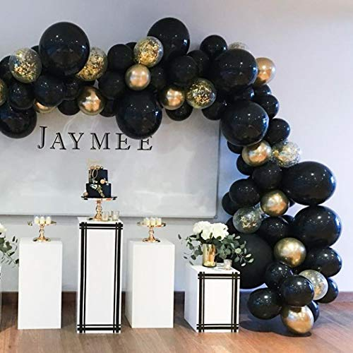 Beaumode DIY Black&Gold Balloon Garland Arch Kit 82pcs Balloons for Countdown Birthday New Year's Eve Backdrop Bachelorette Wedding Party Centerpiece Graduation Anniversary Party Decoration