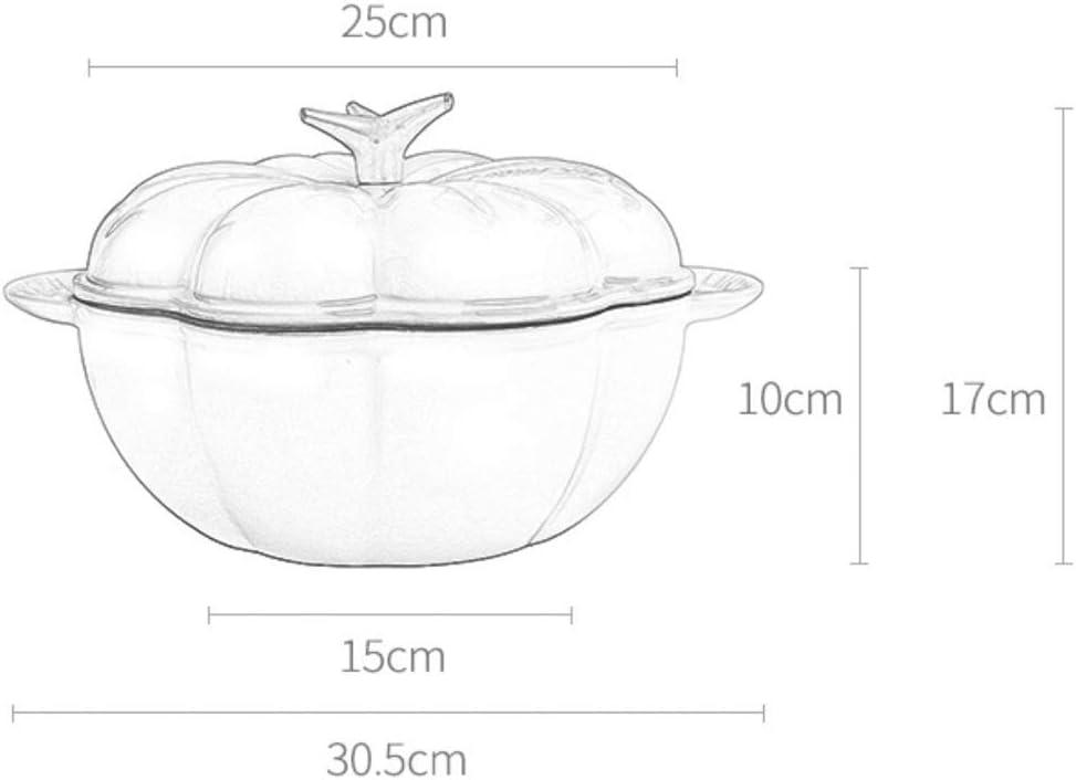 weiwei Cocotte,Casserole/Plat à Rôtir à la Citrouille en Fonte avec Couvercle,Marmite à Ragoût,Marmite à Revêtement Antiadhésif Easy Clean Ovale 25 cm-2 2