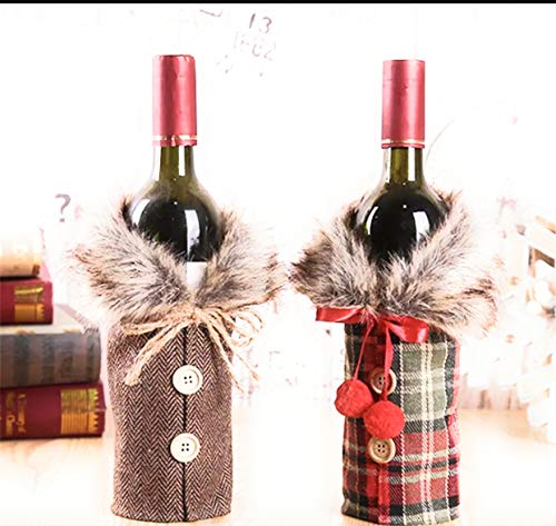 2pcs Christmas Sweater Wine Bottle Cover, Newest Collar & Button Coat Design Wine Bottle Sweater Wine Bottle Dress Sets Xmas Party Decorations (style A)