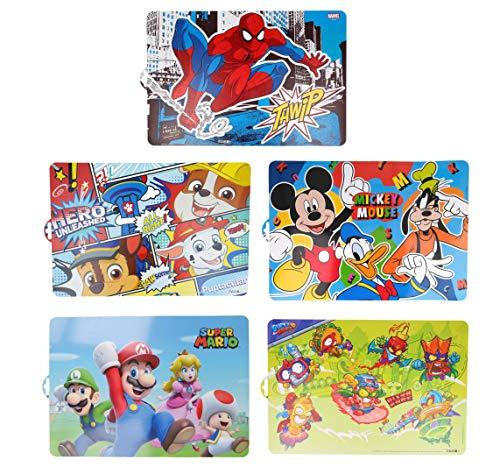 Pack de 5 manteles Individuales Infantiles de Super Mario, Patrulla Canina, Spiderman, Mickey Mouse y Super Zings - Plásticos Libres de BPA (5 Manteles Tonos Azules)