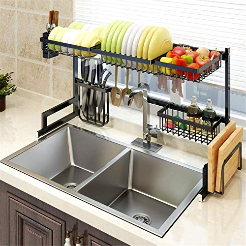 WIN&FACATORY Framy plank 2-tier RVS drainer anti-slip in hoogte verstelbare afdruiprek wastafel afvoer sparen keuken ruimte zilver 65cm