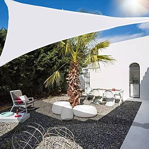 Wsaman 2.4mx2.4mx2.4m Toldo Vela de Sombra Triangular, Resistente a Rayos UV, Prueba Viento Polvo, Vela de Sombra Impermeable Protección UV para Patio, Exteriores, Jardín, Balcón,White
