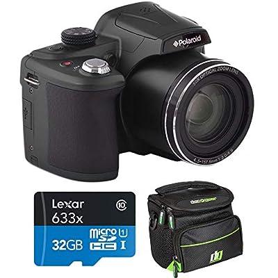 Polaroid 18MP 50x Zoom Instant Digital Camera with 3-inch TFT (Black) IX5038-BLK-INT-4 Bundle w/Deco Gear Camera Bag Case + Lexar High-Performance 633x microSDHC/microSDXC UHS-I 32gb Memory Card from Polaroid