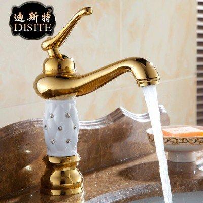 AiMi- Menant de continental antique chaude et froide évier monotrou cuivre pots vintage lavabo robinet