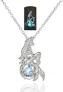 Mermaid Luminous Pendant Necklace for Women Teen Girl Gift Jewelry