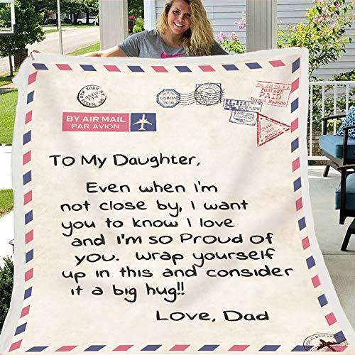 Upupto Manta Figura Stick Fleece Carta para la Hija - Manta Correo aéreo del Amor de papá Positiva expreso Amor a la Hija de la Franela Manta,A,130x150cm