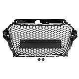 KIMISS Capot avant maille, voiture Cadre RS3 Style noir Capot avant Accessoire pour grille intermédiaire en maille pour A3 8V 2013-2016