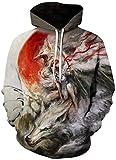 Impresión de suéter 3D,Sudaderas con capucha 3D unisex de mujer india y lobo para estudiante Hip-Hop divertido jersey estampado con capucha bolsillos pareja uniforme de béisbol-como se muestra_XL