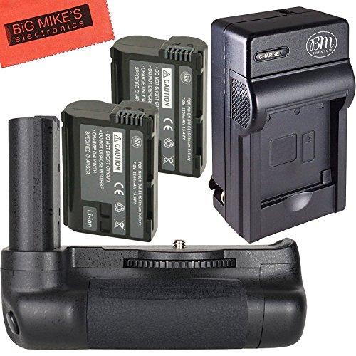 High Power Battery Grip Kit for Nikon D7500 Digital SLR Camera - Includes Qty 2 BM Premium EN-EL15 Batteries + Rapid AC/Dc Battery Charger + Vertical Battery Grip