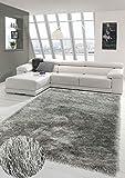 Merinos Wertvoller Shaggy Teppich Hochflor mit Glitzer in Grau Größe 160x230 cm