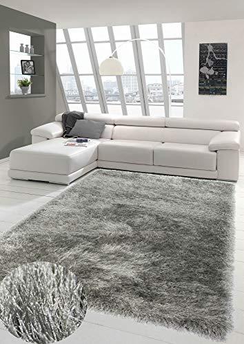 Wertvoller Shaggy Teppich Hochflor mit Glitzer in Grau Größe 80x150 cm