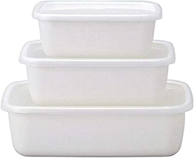 野田琺瑯(Nodahoro) 保存容器 白 レクタングル深型 S・M・L ホワイトシリーズ 3サイズセット 004-06008