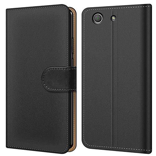Conie BW41367 Basic Wallet Kompatibel mit Sony Xperia Z1 Compact, Booklet PU Leder Hülle Tasche mit Kartenfächer & Aufstellfunktion für Xperia Z1 Compact Hülle Schwarz