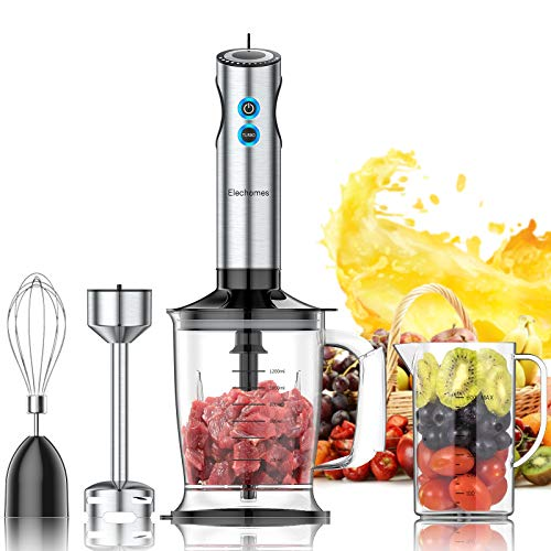 Elechomes Professional Immersion Hand Blender, 12-Speed Stick Blender with 4-Blade, 4-in-1 Multi-Purpose 800W Handheld Blender with Large 1.2L Food Processor, 800ml Mixing Beaker, Whisk Attachments