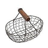 Dniu Cesta para huevos de metal con mango de madera, multifuncional, para cocina,...