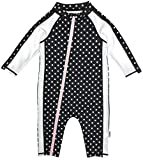 SwimZip Little Girl Long Sleeve Sunsuit Romper Swimsuit UPF 50 Sun Protection Black