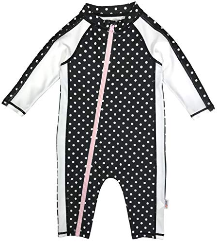 SwimZip Little Girl Long Sleeve Sunsuit Romper Swimsuit UPF 50 Sun Protection Black