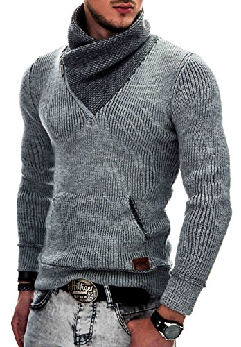 Indicode Uomo Dane Pullover Invernale A Maglia Grezza con Colletto Sciallato | Caldo Moderno Marchio Hoddie Maglione Comodo in per Uomo Light Grey XL