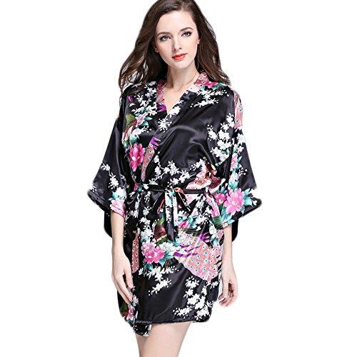AOWEI EC Mujer Kimono Satén Albornoz Corto Pijama de Seda Camison Camisones de Verano Vestido Floral # Negro L