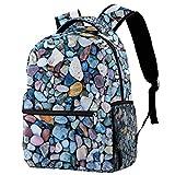 Mochila colorida Macadam Stone School Bag Mochila de viaje casual para mujeres, adolescentes y niños