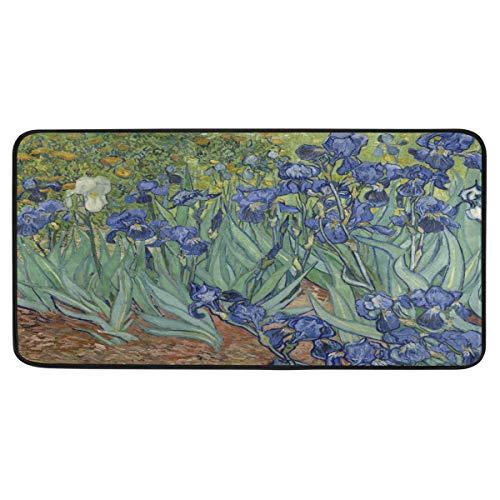 TropicalLife SunsetTrip Van Gogh Iris Flower Alfombras de cocina antideslizantes Wahable Alfombra de baño para el hogar, dormitorio, pasillo, felpudo de 99 x 50 cm