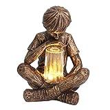 JiYanTang Glimpses of God Boy Estatua, decoración de jardín de Pascua,Estatua de prodigio Luz Solar para césped,Estatua Exclusiva para Patio y jardín, para Decoración del Hogar Amigos Regalos