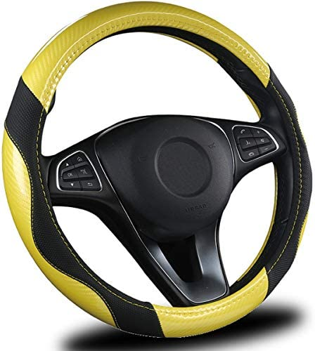 AmeriLuck Steering Wheel Cover for Car, Universal 15 inch, Odorless, Breathable, Anti-Slip, Sporty, Soft and Snug Grip, Carbon Fiber Effect (Yellow | Black)