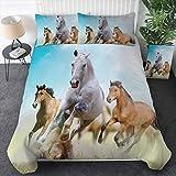 Sleepwish Galoppierendes Pferde-Bettwäsche-Set, Wildpferde, laufend im Staubdruck, 3-teiliges Western-Bettwäsche-Set, Cowboy-Cowgirl-Tagesdecke (Doppelbett)