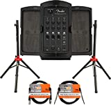 Fender Passport Conference S2 Portable PA System Bundle with Compact Speaker Stands, XLR Cable, and Instrument Cable