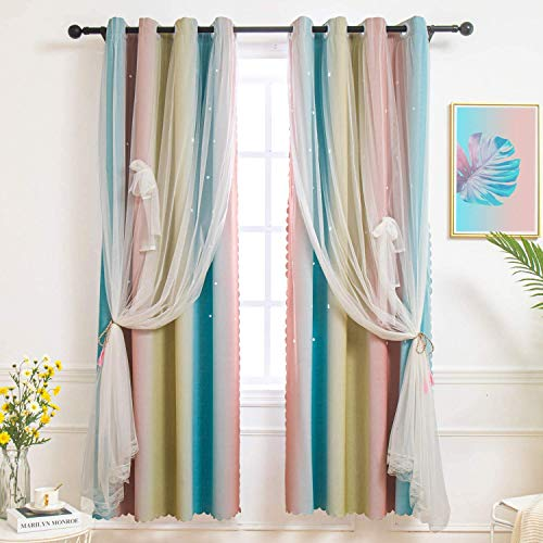 Laghcat Star Blackout Curtain for Kids and Girls, Tulle Double-Layer Window Blackout Drapes, Cut Out Bedroom Living Room Stripe Decorative Curtain, 1 Panel (Rainbow, 52W x 63L inches)