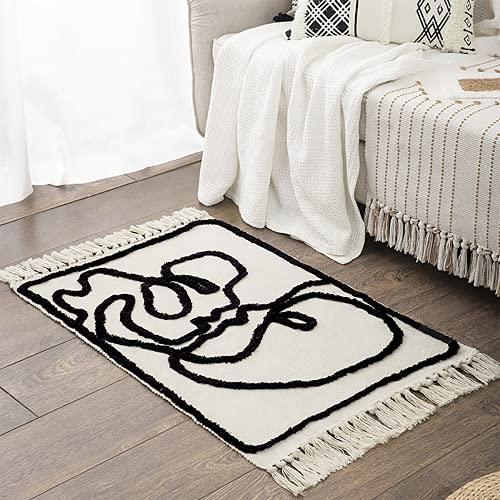 Home Fresh Area Rug – 2 x 3 Ft Modern Decor Boho Rug – Black and White Rug for Bedroom, Kitchen, Entryway – Cozy Luxurious Feel – Premium Cotton with Cute Tassels – Machine Washable