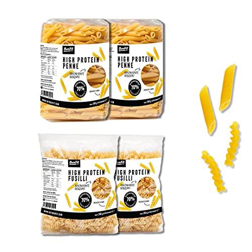 BenFit High Protein low carb Nudeln Mix-Paket - 4 Packungen mit 200 g je Packung - ideal für eine kalorienreduzierte und proteinreiche Ernährung