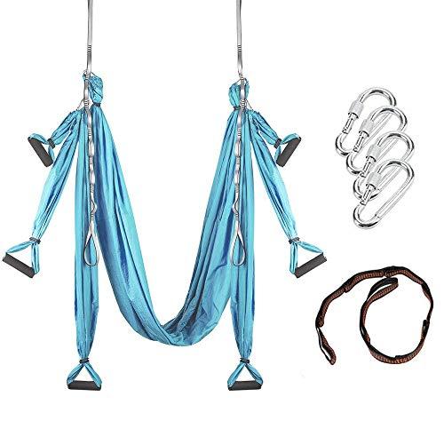 MQSS Aerial Trapeze Yoga Swing - Hamaca de Yoga/Honda/Herramienta de inversión Gym Strength Antigravity Yoga Hammock - Equipo de Ejercicio de inversión Trapeze Sling Blue
