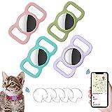 Ambolio Custodia Protettiva in Silicone per Animali Domestici,Airtag GPS Finder Dog Cat Collar Loop,per Il Tracciamento del Cane e del Gatto,4 Pezzi.(Rosa + Azzurro + Verde Chiaro + Viola)