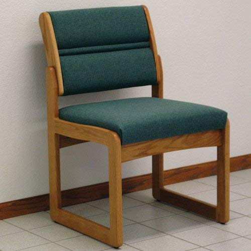 Wooden Mallet Sled-Base Valley Armless Guest Chair, Medium Oak, Foliage Green
