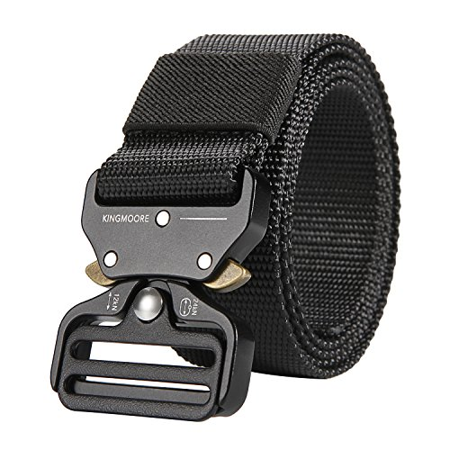 Save %46 Now! KingMoore Men's Tactical Belt Heavy Duty Webbing Belt Adjustable Military Style Nylon ...