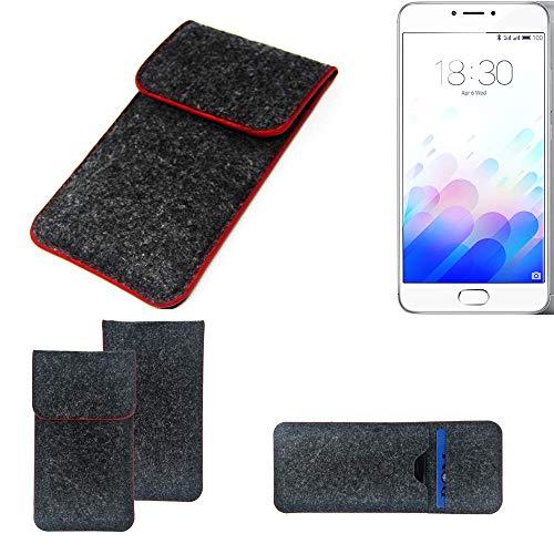 K-S-Trade Handy Schutz Hülle Kompatibel Mit Meizu M3 Note Schutzhülle Handyhülle Filztasche Pouch Tasche Hülle Sleeve Filzhülle Dunkelgrau Roter Rand