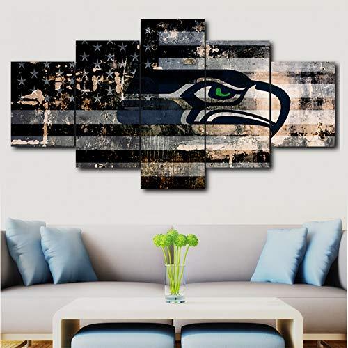 MCZLKSWL Size2 Leinwand Malerei Seattle Seahawk Sport Logo Poster Rahmenlose 5 Wohnzimmer Wandkunst Bild Leinwand Dekoration