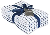AMOUR INFINI Terry Kitchen Towels   Set of 4   20 x 28 Inches   Super Plush and Absorbent  100% Cotton Dish Towels with Hanging Loop   Perfect for Kitchen and Household Uses   Blue