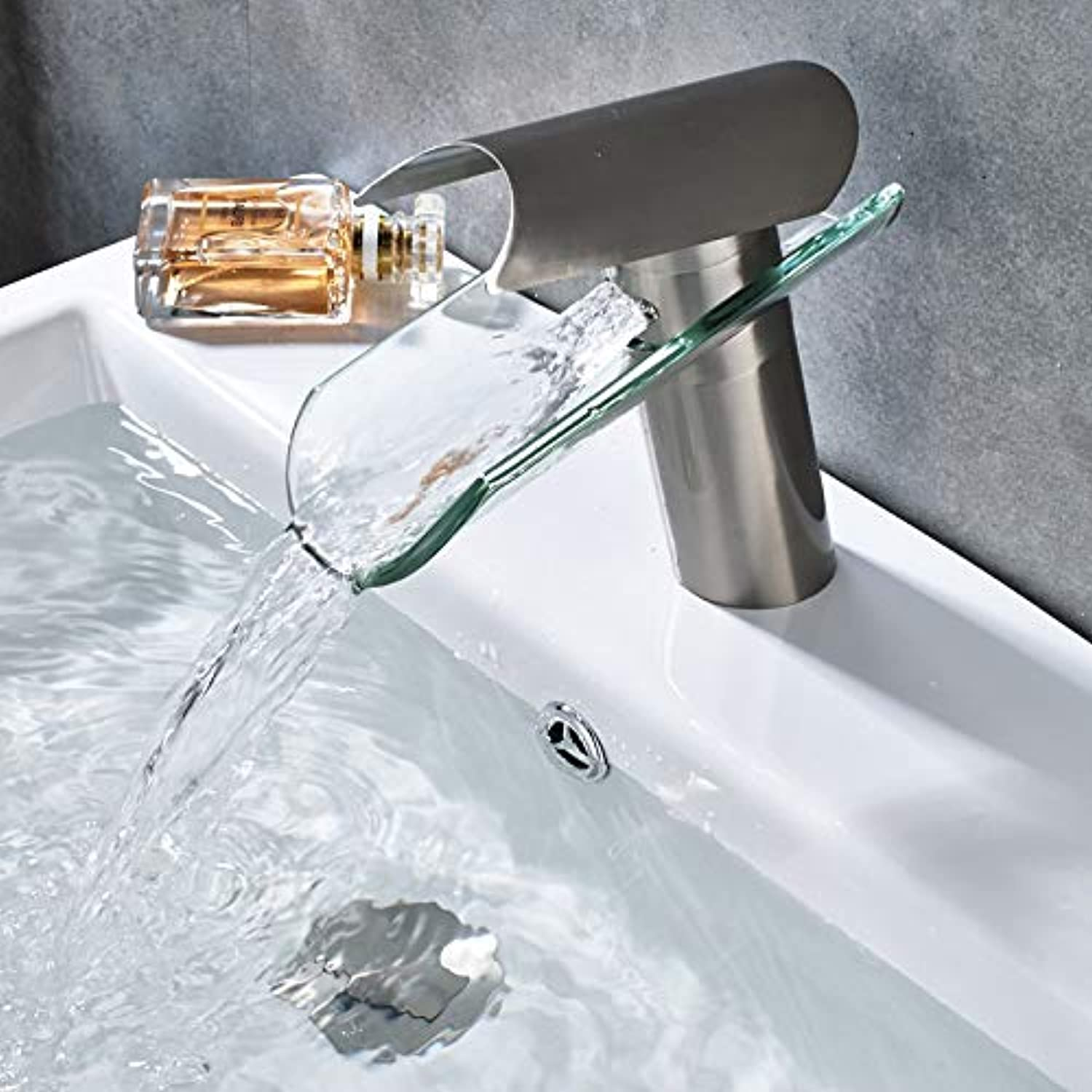 GeWu888 Chrome-Plated Brass Sink Faucet Waterfall Glass Bathroom Crane Hot and Cold Water Faucet Brushed Nickle Short
