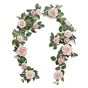 Ling's moment Artificial Rose Flower Runner Rustic Flower Garland Floral Arrangements Wedding Ceremony Backdrop Arch Flowers Table Centerpieces Decorations