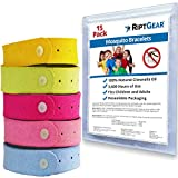 RiptGear Mosquito Bracelet (15 Pack) for Children and Adults - Better Than Lotion or Spray Wipes - Travel...