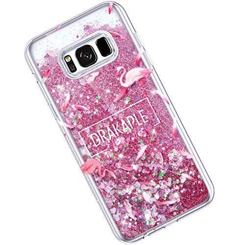Qjuegad Compatible avec Samsung Galaxy S8 Plus Coque Ultra Thin Transparente Souple Silicone Glitter Quicksand Étui de Protection Anti-Choc/Anti-Scratch Housse Shell avec Coloré Motif, Flamingo#2