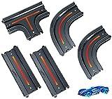 Hot Wheels GCF93 - City Track Pack Erweiterungsbundle mit 1 Spielzeugauto und geraden Teilen, Kurven und Viererkreuzungen, Spielzeug ab 4 Jahren -