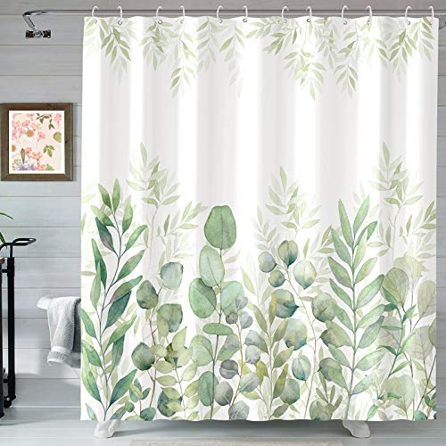 AMM Green and White Shower Curtain, Fabric Shower Curtains for Bathroom, Plant Leaves Shower Curtain Sets with 12 Hooks 72''×72'' (Green)