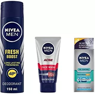 Nivea Men Fresh Boost Deo 150ML, Acne Face Wash 50 Ml, Oil Control Moisturiser 20 ML #153 (3 Items in the set)